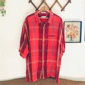 Vintage Linen Blend Casual Plaid Button Down Shirt